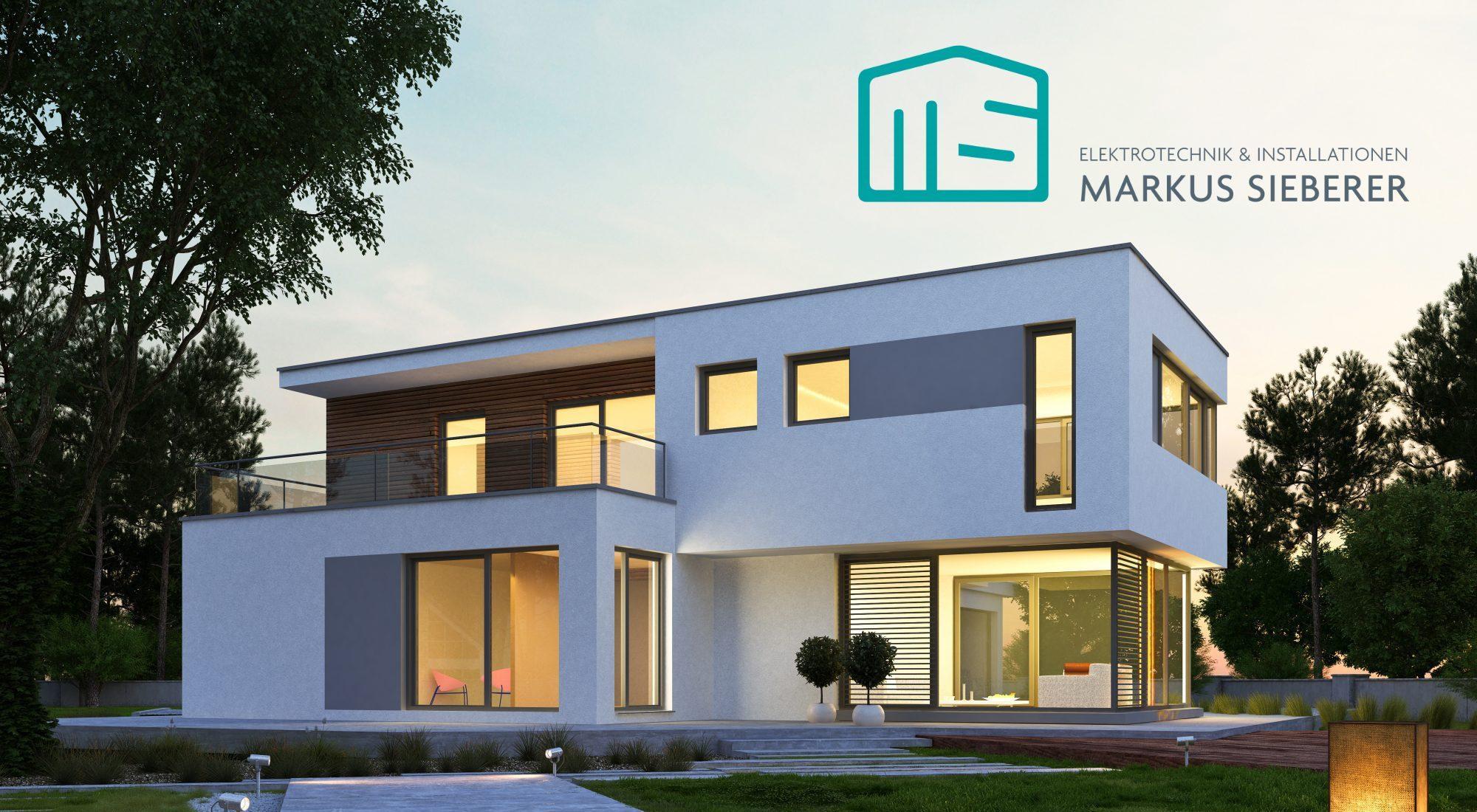 Modernes Kubushaus mit Gartenbeleuchtungskonzept